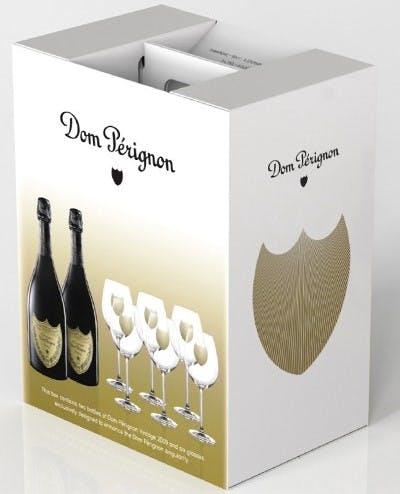 Moet & Chandon Dom Perignon 2 Bottles 6 Glasses Gift Set 2009 - The Grape Tray